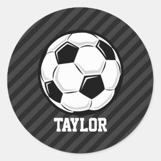 Balón de fútbol; Rayas negras y gris oscuro Pegatina Redonda