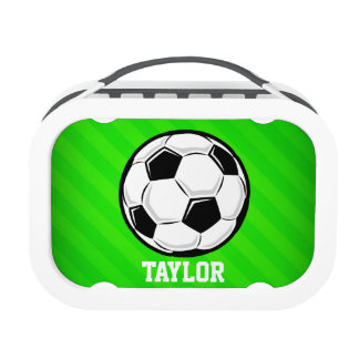 Balón de fútbol; Rayas verdes de neón