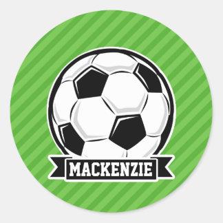 Balón de fútbol; Rayas verdes Pegatina Redonda
