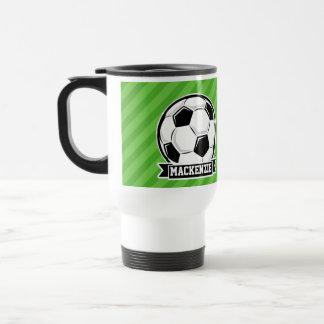Balón de fútbol; Rayas verdes Tazas De Café