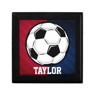 Balón de fútbol; Rojo, blanco, y azul Joyero Cuadrado Pequeño