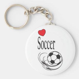 Balón de fútbol rojo del corazón del amor llavero redondo tipo pin