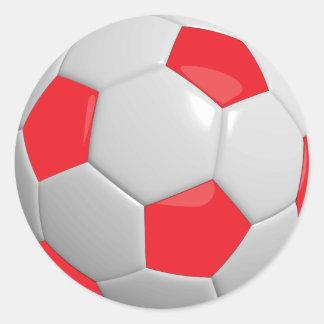 Balón de fútbol rojo y blanco del deporte pegatina redonda