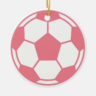 Balón de fútbol rosado adorno navideño redondo de cerámica