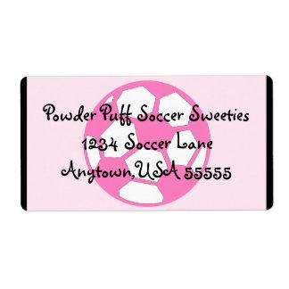 Balón de fútbol rosado etiquetas de envío