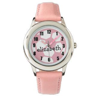 Balón de fútbol rosado relojes
