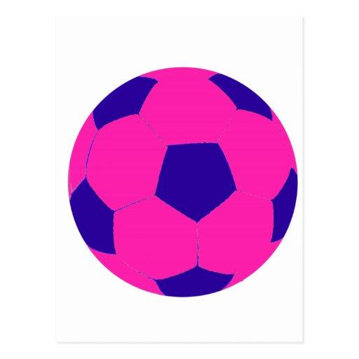 Balón de fútbol rosado y azul postales