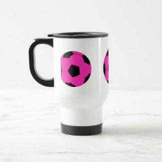 Balón de fútbol rosado y negro taza térmica