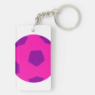 Balón de fútbol rosado y púrpura llavero rectangular acrílico a doble cara