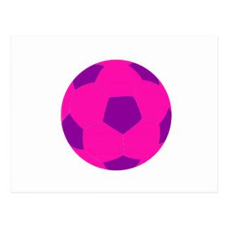 Balón de fútbol rosado y púrpura tarjeta postal