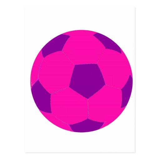 Balón de fútbol rosado y púrpura tarjetas postales