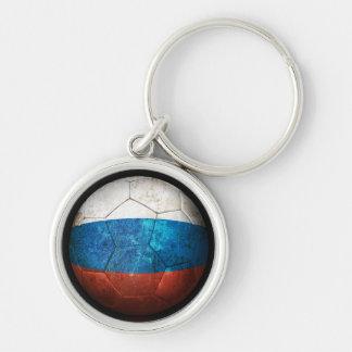 Balón de fútbol ruso gastado de fútbol de bandera llaveros personalizados