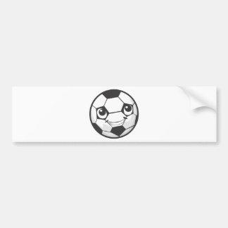 Balón de fútbol sonriente feliz de encargo etiqueta de parachoque