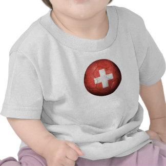 Balón de fútbol suizo gastado de fútbol de bandera camiseta