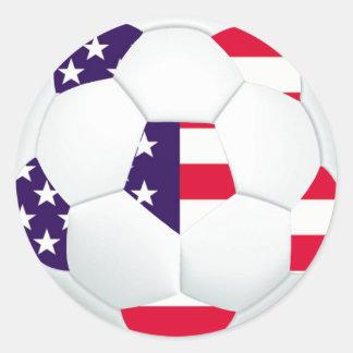 Balón de fútbol temático de la bandera americana pegatinas redondas