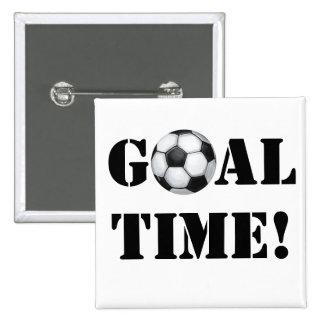 ¡Balón de fútbol, tiempo de la meta! Pin Cuadrada 5 Cm