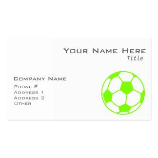Balón de fútbol verde chartreuse, de neón tarjetas de visita
