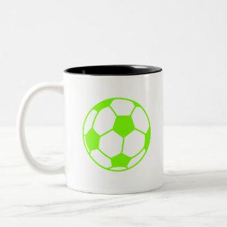 Balón de fútbol verde chartreuse, de neón tazas