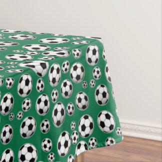 Balón de fútbol verde de la decoración del cadmio manteles