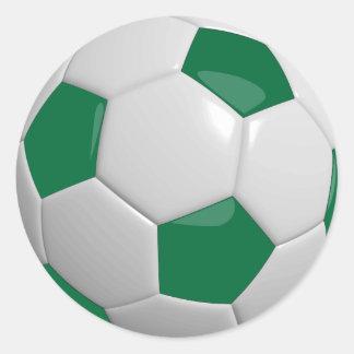 Balón de fútbol verde oscuro y blanco deportivo pegatina redonda