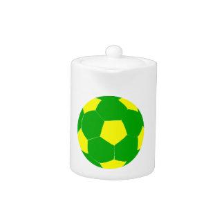 Balón de fútbol verde y amarillo