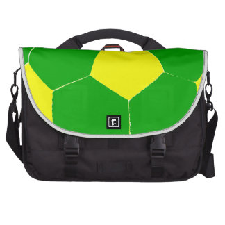 Balón de fútbol verde y amarillo bolsas para portatil