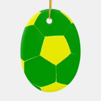 Balón de fútbol verde y amarillo ornamente de reyes