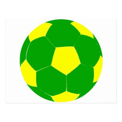 Balón de fútbol verde y amarillo postal