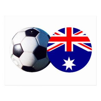 Balón de fútbol y bandera de Australia el MUSEO Postal