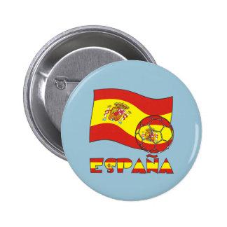 Balón de Fútbol y la Bandera Española Button
