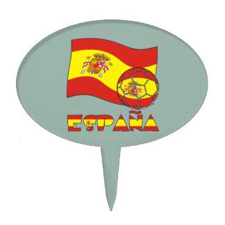 Balón de Fútbol y la Bandera Española Cake Topper