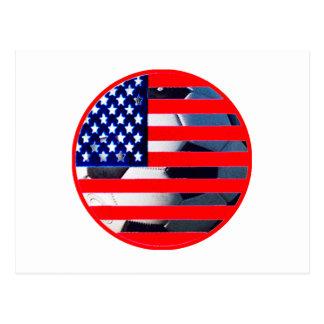 Balón de fútbol y los E.E.U.U. Flag2 el MUSEO Postal