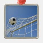 Balón de fútbol y meta 3 adorno navideño cuadrado de metal