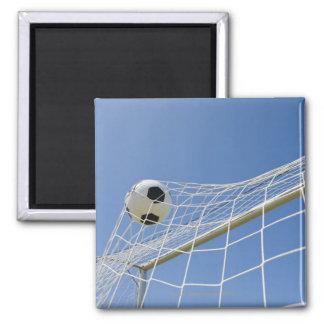 Balón de fútbol y meta 3 imán cuadrado