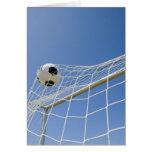 Balón de fútbol y meta 3 tarjeta de felicitación