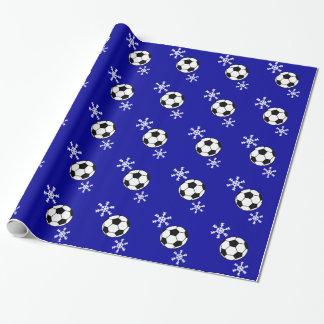 Balón de fútbol y papel de embalaje del día de papel de regalo