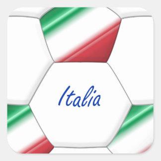 Balón ITALIA FÚTBOL de equipo nacional y bandera Pegatinas Cuadradas