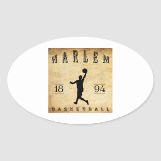 Baloncesto 1894 de Harlem Nueva York Calcomania De Oval