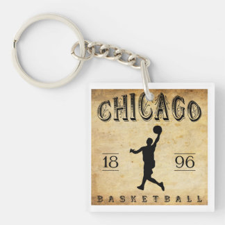 Baloncesto 1896 de Chicago Illinois Llavero Cuadrado Acrílico A Doble Cara
