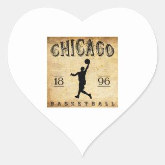 Baloncesto 1896 de Chicago Illinois Pegatina De Corazón Personalizadas