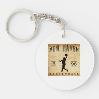 Baloncesto 1896 de New Haven Connecticut Llavero Redondo Acrílico A Doble Cara