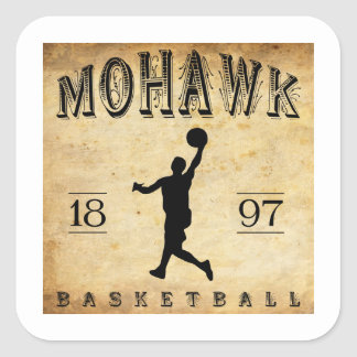 Baloncesto 1897 de Nueva York del Mohawk Pegatina Cuadrada