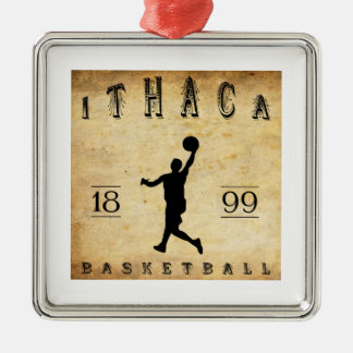 Baloncesto 1899 de Ithaca Nueva York Adorno Cuadrado Plateado