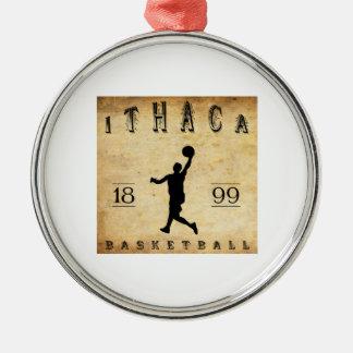 Baloncesto 1899 de Ithaca Nueva York Adorno Redondo Plateado
