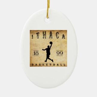 Baloncesto 1899 de Ithaca Nueva York Adorno Ovalado De Cerámica