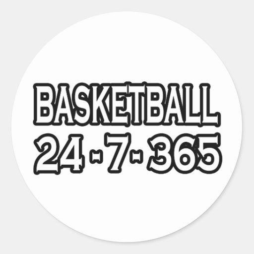 Baloncesto 24-7-365 etiquetas redondas