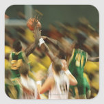 Baloncesto 3 pegatina cuadradas personalizadas