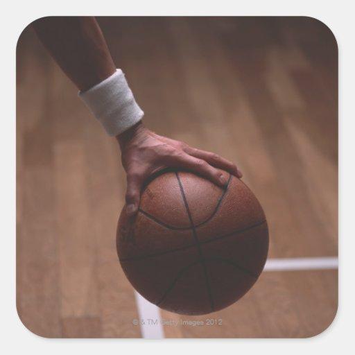 Baloncesto 6 pegatina cuadrada