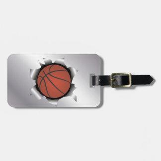 baloncesto a través de la hoja de metal etiqueta para maleta