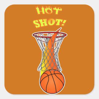 Baloncesto a través de la red: Tiro caliente Pegatina Cuadrada